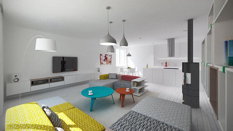 Nowoczesne wnętrza apartamentu - Projekt Skotniki