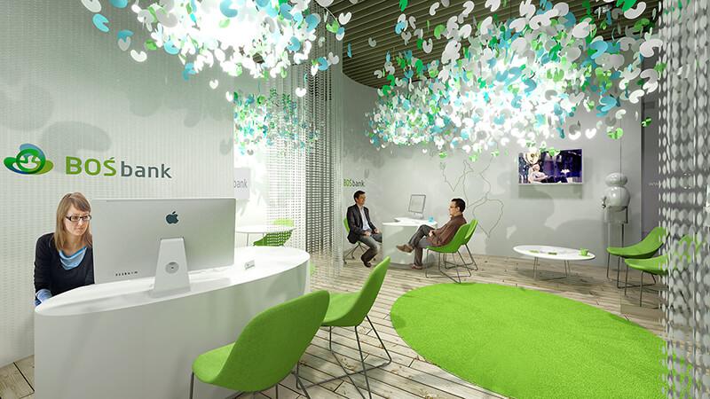 Projekty wnętrz - Projekt wnętrz dla Boś Banku