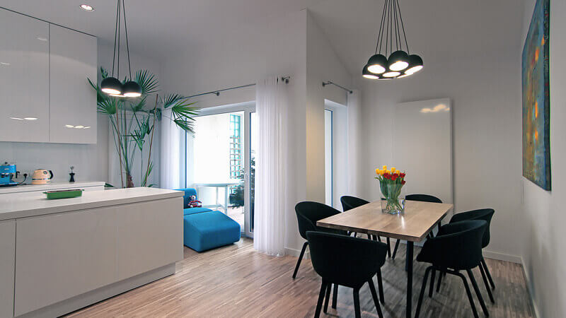 Interiors design of the apartment in a row house